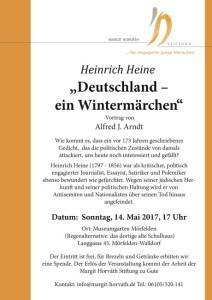 """Am 14. Mai 2017 referiert Alfred J. Arndt im Mörfelder Museumsgarten über das starirische Versepos von Heinrich Heine """"Deutschland. Ein Wintermärchen""""."""