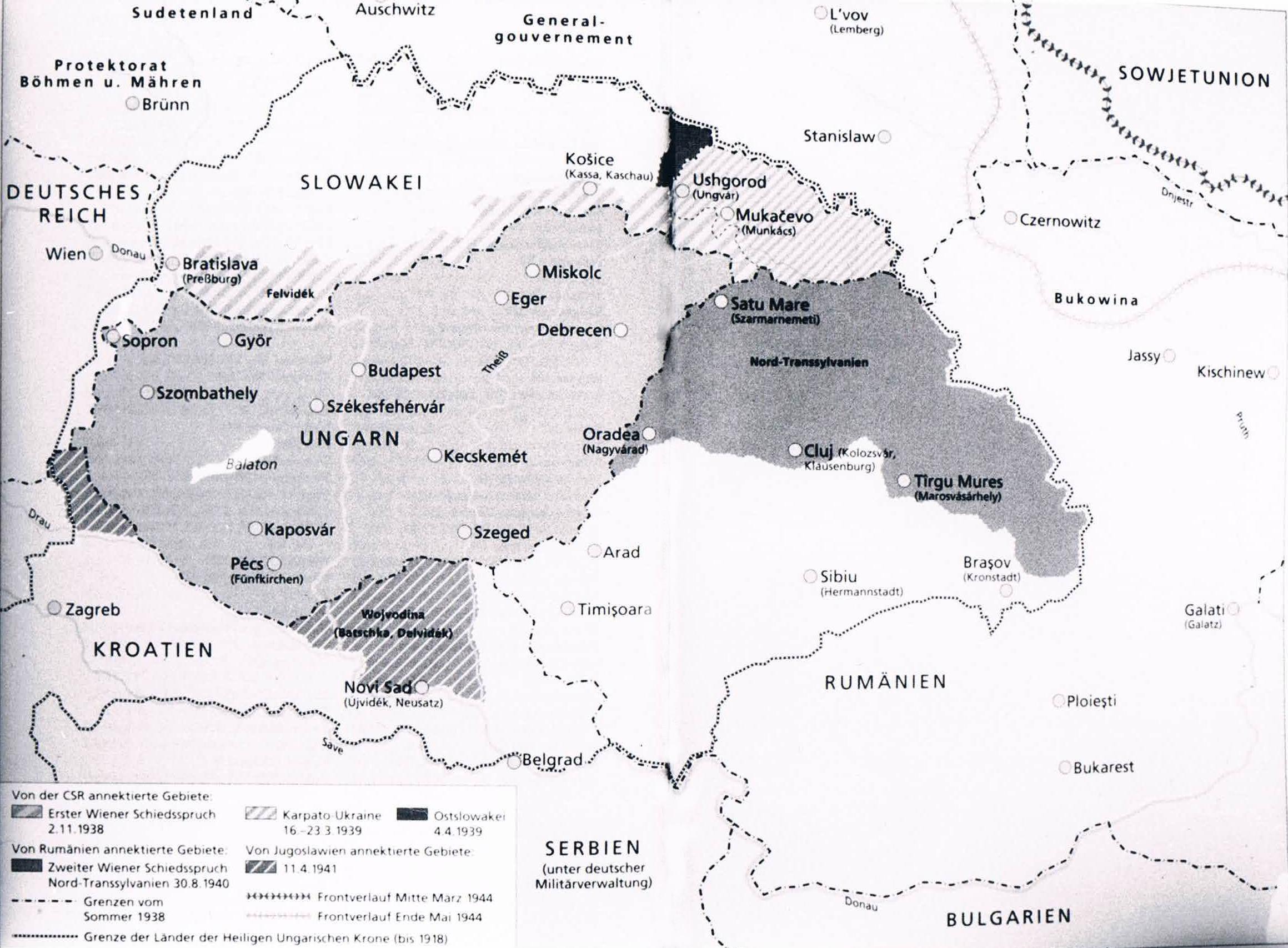 Landkarte mit ehemaligen ungarischen Gebieten Quelle: Chr. Gerlach: Das letzte Kapitel, Deutsche Verlags-Anstalt, 2002, S. 482-483.